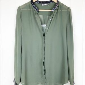 DKNY olive sheer blouse with leather trim